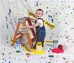 ~ Pintura derramada ~ fotografía Prop Mirada muy realista! Incluye:-Quart 4 latas de pintura de tamaño. Latas de pintura verde y azul.