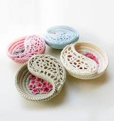 """CROCHET PATTERN - 4"""" yin yang jewelry dish, Trinket plate. The 4"""" dish, very small, very cute… These dishes are crocheted on rope, which makes them firm yet delicate looking. Great as decorative every purpose storage bowl for tiny objects such as jewelry, keys, treasures…"""