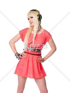musical fashionista - Girl wearing chic outfit and headphones on white background.
