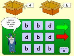 Om te oefenen met letterherkenning. Sleep de letters naar de juiste doos.
