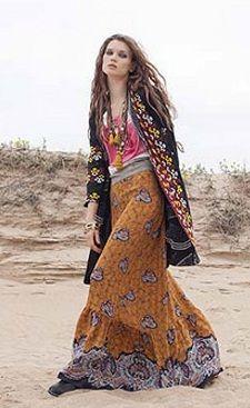 hipy style maxi skirt + long embrodey black velvet coat