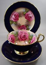 Aynsley Cobalt Blue & Cabbage Roses Trio - Wide Mouthed Cup Saucer & Plate