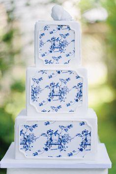 Blue and White Wedding Ideas - toile cake