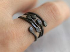 3 Stacking Bud Initial Ring Set (adjustable) by palefishny #oxidized_silver