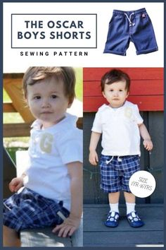 The Oscar Boys Shorts sewing pattern (Ages 1-16). These shorts as a total breeze! They have a faux zipper flap and an elasticated waist which makes this a quick afternoon project. There are a few new tricks to sewing this one, making it look totally professional. The fit is perfect too. Once you have made one you will be running them up all the time. Best of all it only takes just over half a yard of fabric to make one of these. Boys Sewing Patterns, Sewing For Kids, Sewing Courses, Name Embroidery, Kids Pants, Modern Kids, Photo Tutorial, New Tricks, Boy Shorts