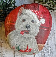 Christmas Paperweight painted Rock - West Highland Terrier