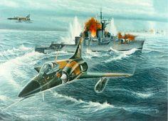 IAI Dagger argentino atacando un buque británico (ayuda con el navío, Lutzow).