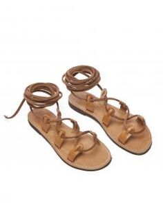 Tan Leather Dree Two Nude Long Tie Sandal