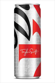 "Diet Coke new, limited-edition sleek can, replete with Taylor Swift's autograph and inspirational quote ""If you're lucky enough to be different, don't ever change."""