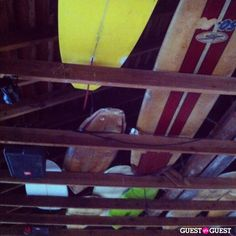 One possible reason why they called it the Surf Lodge is because everyone stores their surfboards in the rafters above the bar!