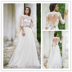 Find More Wedding Dresses Information about Inspired Appliqued Lace and Tulle Bridal Gown with Keyhole scoop Back and Half Sleeves 2015 open back Wedding Dress NT 739,High Quality gowns white,China gown dress Suppliers, Cheap gowns robes from Suzhou Amy wedding dress co., LTD on Aliexpress.com