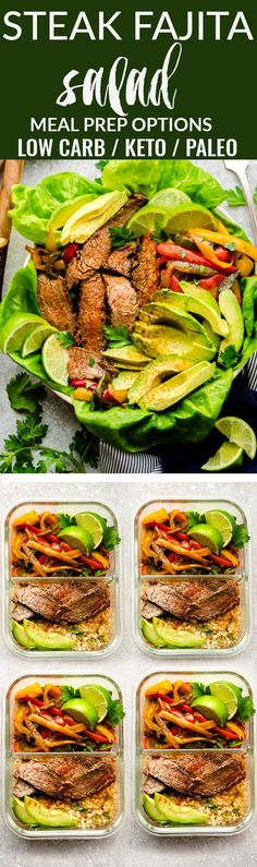 Keto Steak Fajita Salad is the perfect hearty and low carb lunch or light dinner. Best of all, it has all the amazing flavors of a fajita with red, green and yellow bell peppers, tender and juicy flank steak with avocado slices served over butter and rom Lunch Recipes, Beef Recipes, Low Carb Recipes, Salad Recipes, Healthy Recipes, Healthy Drinks, Healthy Foods, Breakfast Recipes, Chicken Recipes