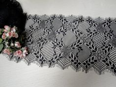 7 18 cm Wide Black Stretch Floral Eyelash Tulle Lace by AnnasDream