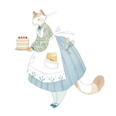 "The Great British Bake Off is by far my favorite television program (who's with me! I recently purchased Kim-Joy's new cookbook, ""Baking with Kim-Joy,"" and was inspired to paint a little kitty. Character Design, Drawings, Fantasy Art, Drawing Illustrations, Baby Art, Cute Art, Illustration Art, Art, Animal Illustration"