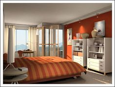 Bedroom Wall color idea by Modern House. Bedroom Wall Colors, Bedroom Decor, Bedroom Ideas, Design Bedroom, Exotic Bedrooms, Bedroom Orange, Dream Bedroom, Modern Bedroom, Interior Design