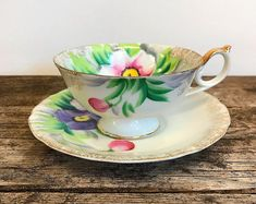 Taico Japan Fine China Tea Cup Saucer Set Pink Violet Flowers Floral Tea Party