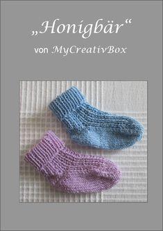 """Socken """"Honigbär"""" für Gr.15-31, Anleitung von MyCreativBox, gestrickt mit Sockenwolle 4-fach"""