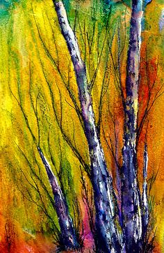 FALL & WINTER TREES..FALL&WINTER TREES ALCOHOL INKS & PENS Incorporating Micron & The Elegant Writer Pen, on top of Alcohol Ink background....on Matte Medium coated Mixed Medium Art paper.
