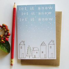 'Let It Snow' Card by Charlotte Macey Textiles, England. £3