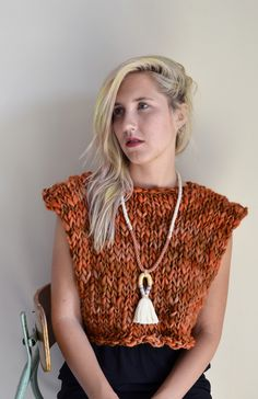 kawartha cropped sweater of merino thick & thin wool goodnightday.ca worn w/ gamma folk necklace, model alyssa garrison