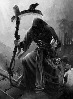 I wonder can I retire now and still get my ss money? Death Reaper, Grim Reaper Art, Grim Reaper Tattoo, Don't Fear The Reaper, Reaper Drawing, Dark Artwork, Bild Tattoos, Skull Wallpaper, Angel Of Death