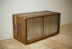 Credenza made from old growth reclaimed doug fir with cold rolled steel doors.