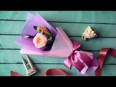 Wrap a rose in a cellophane cone #wrapflowers - YouTube