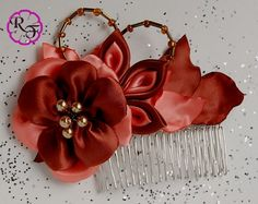 Bridal hair piece , fall wedding hair piece Kanzashi Flower ,Brown and Coral Beautiful Flower . tone comb , hair accessory