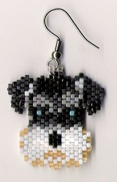 Here is a lovely pair of Schnauzer Dog earrings. They measure 1 They were designed by Linda Hampton and beaded by me one bead at a time in a smoke free home I do combine shipping. Seed Bead Jewelry, Seed Bead Earrings, Beaded Earrings, Beaded Jewelry, Seed Bead Patterns, Jewelry Patterns, Beading Patterns, Fuse Beads, Beads And Wire