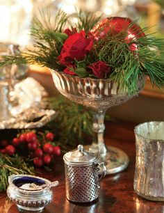 Christmas Buffet Table or drink area Southern Christmas, Noel Christmas, Merry Little Christmas, All Things Christmas, Christmas Crafts, Tartan Christmas, Xmas, Christmas Balls, Christmas Colors