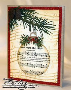 Handmade Christmas Cards Using Memory Box Dies + Christmas Prince, Christmas Music Houston both Christmas Tree In Nyc Homemade Christmas Cards, Christmas Cards To Make, Xmas Cards, Homemade Cards, Handmade Christmas, Holiday Cards, Sheet Music Crafts, Shaker Cards, Winter Cards