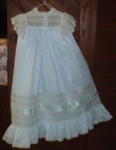 Heirloom dress size 5 blue/ecru Maline lace by daisysdaughter