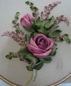 Wonderful Ribbon Embroidery Flowers by Hand Ideas. Enchanting Ribbon Embroidery Flowers by Hand Ideas. Embroidery Designs, Ribbon Embroidery Tutorial, Silk Ribbon Embroidery, Crewel Embroidery, Embroidery Patterns, Embroidery Thread, Machine Embroidery, Embroidery Supplies, Ribbon Art