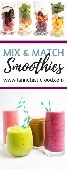 Create your own healthy smoothie recipes with this formula for the perfect smoothie every time! Mix & match fruits & flavorings for endless combinations. Smoothies Vegan, Smoothie Recipes, Making Smoothies, Juice Recipes, Snacks, Crunches, Eating Plans, Mix Match, Cravings
