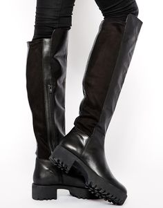 Image 1 of ASOS KIDNAP Leather Over the Knee High Boots