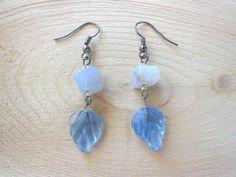 Handmade Light Blue Leaf Dangle Earrings - Blue Lace Agate - Hypoallergenic Option by BokBokJewelry #zibbet #jewelry
