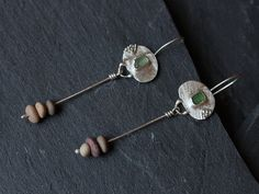 Sterling silver earrings with green sea glass by AlexMalexDesigns