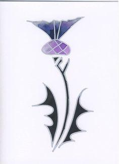 Original Artwork by Jessie Boyd. Scottish artist. Thistle - Ink and Gouache on card