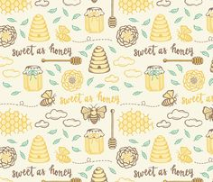 Sweet as Honey on gold fabric by jaymehennel on Spoonflower - custom fabric
