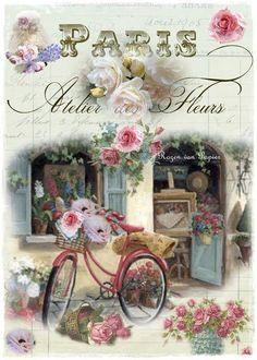 Laminas de bicicletas para decoupage - Marina Creativa Decoupage Vintage, Vintage Crafts, French Flowers, Vintage Flowers, Vintage Pictures, Vintage Images, Etiquette Vintage, Vintage Drawing, Vintage Paris
