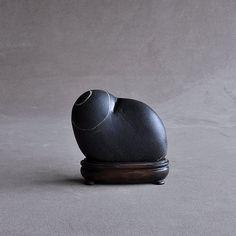 Ashorogawa stone with white lines, Japanese black suiseki