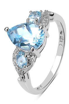 Olivia Leone | Sterling Silver Pear & Oval Blue Topaz Ring | HauteLook