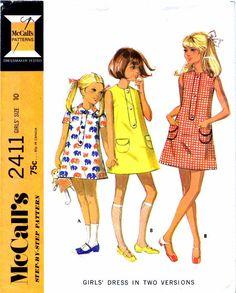 1970s Girls Mod Dress Pattern Back Zipped Collarless Short Sleeves Childrens McCalls 2411 Vintage Sewing Pattern Size 10 UNCUT