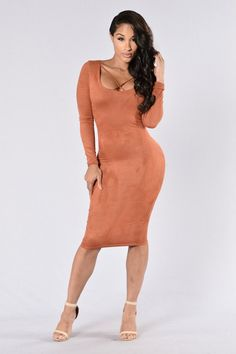 - Available in Mocha and Brick - Criss Cross Front and Back - Long Sleeve - Midi Length - 95% Polyester, 5% Spandex