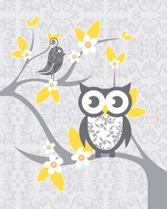 2 PC Baby Nursery Prints for modern rooms with Whimsical Owl and Tweet, 2 Tweets on damask, Gray yellow, boy girl unisex, 8x10