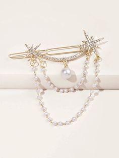 Faux Pearl Decor Hair Clip | SHEIN USA Hair Accessories For Women, Women Jewelry, Fashion Jewelry, Fancy Jewellery, Bead Jewellery, Gold Bridal Earrings, Bridal Jewelry, Ear Jewelry, Cute Jewelry