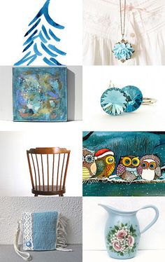 Christmas Blue Pick Me UP.... by virginia wulf  #handmade #blueChristmas #1onecircle #etsy  --Pinned with TreasuryPin.com
