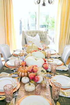 Fall Decor Tips Home Tour - Randi Garrett Design. Who says autumn has to be orange?! Rose gold table setting. White pumpkins, gold, peach roses, sequin table runner