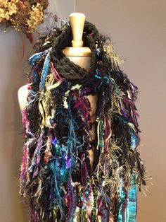 Hand knit fringed scarf, art scarf, one of a kind, black, blue and black, jewel tone scarf, fringed scarf, knit scarves, Hand made. By rockpaperscissorsetc on Etsy.
