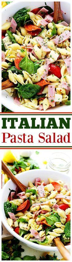 Italian Pasta Salad Recipe - Loaded with all your Italian favorites, like pepperoni, ham, tomatoes, Pasta Salad Recipes, Healthy Salad Recipes, Recipe Pasta, Pasta Dishes, Food Dishes, Ham Pasta, Dinner Dishes, Light Summer Meals, Pasta Salad Italian